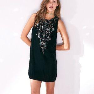 UO Ecote Jasmina Beaded Velvet Cocktail Dress S